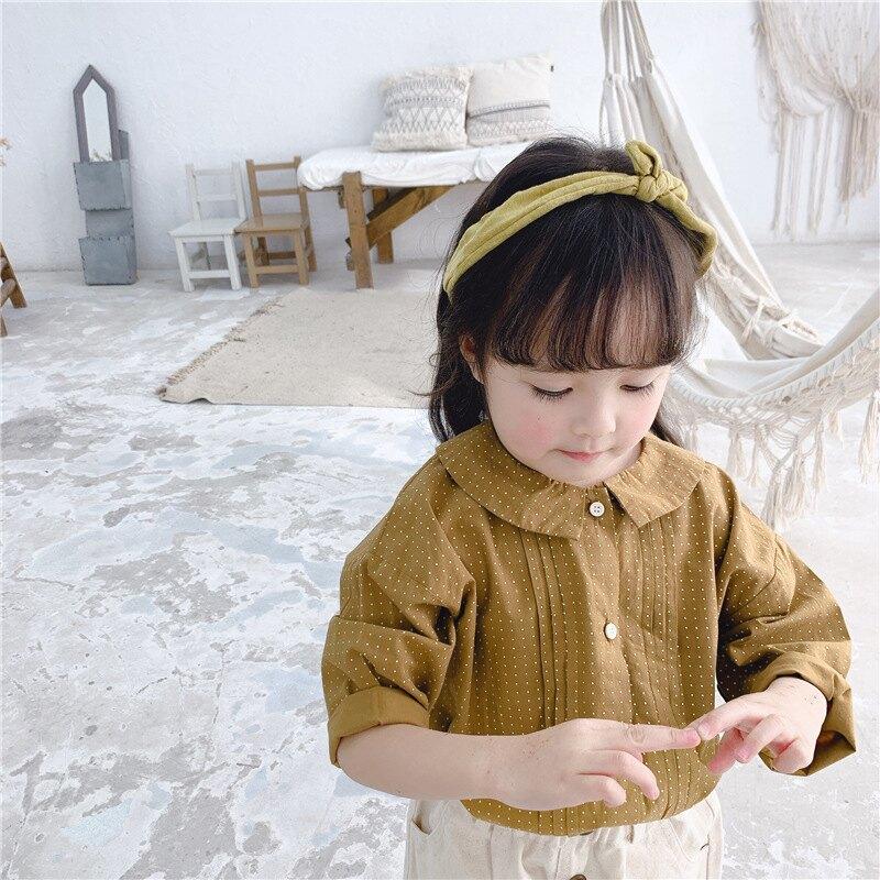 女童 小清新 點點寬鬆長袖襯衫 薄長袖 防曬 防蚊 上衣 襯衫 襯衫 女童 橘魔法 現貨 兒童 童裝【p0061205235220】