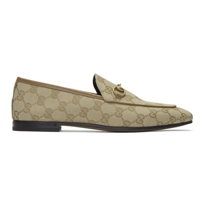 Gucci 驼色 GG Jordaan 帆布乐福鞋