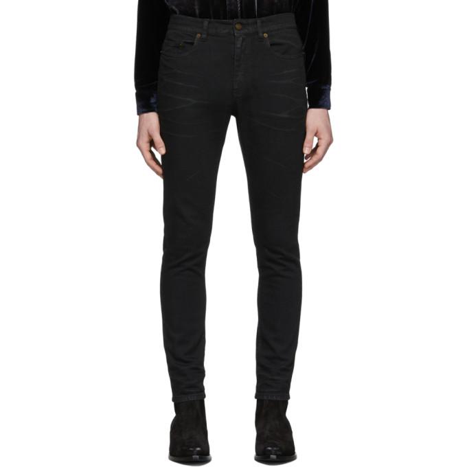 Saint Laurent 黑色涂层紧身牛仔裤