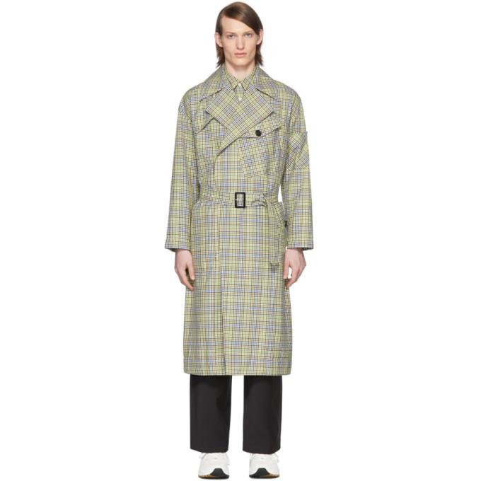 Tibi SSENSE 独家发售绿色 and 驼色格纹再生面料风衣