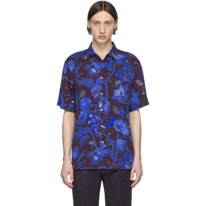 Paul Smith 酒红色 and 蓝色 Goliath 花卉短袖衬衫