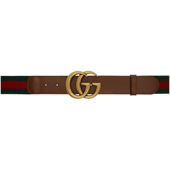 Gucci 绿色 and 红色 Double G 编织腰带