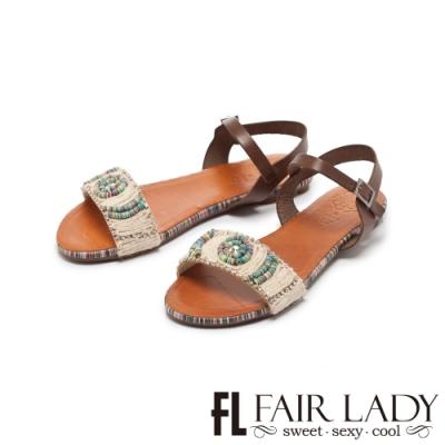 FAIR LADY PORRONET彩線編織水鑽一字平底涼鞋 摩卡