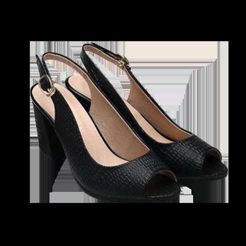 粗跟女鞋魚嘴鞋魚口鞋中跟後空包鞋真皮石頭紋鱷魚紋大尺碼女鞋-白/黑34-42【AAA2353】