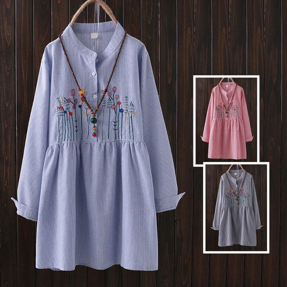 小清新中長款花朵刺繡立領半開條紋長袖連身裙(2色XL~4XL)*ORead*