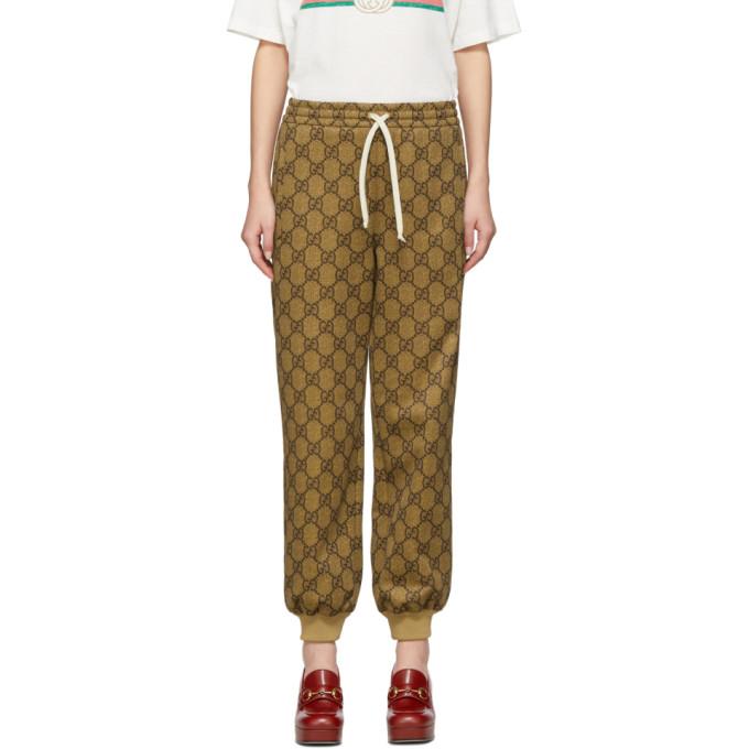 Gucci 棕色 GG Supreme 抽绳运动裤
