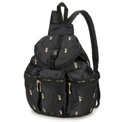 日本 刺繡 金貓後背包