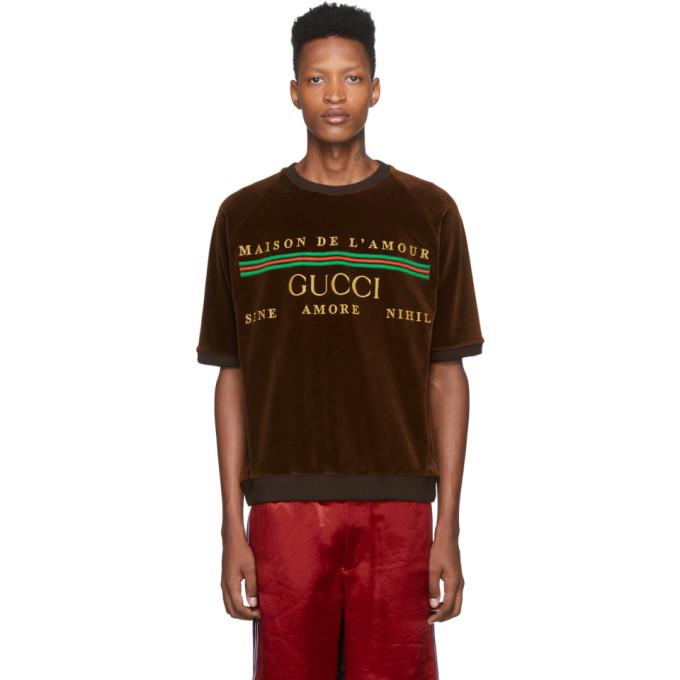 Gucci 棕色徽标刺绣雪尼尔 T 恤