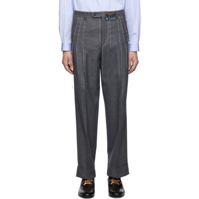 Gucci 灰色线迹羊毛长裤