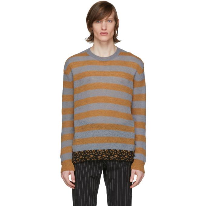 Dries Van Noten 灰色 and 橙色条纹毛衣