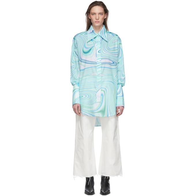 LECAVALIER 蓝色 Tunic 大廓形衬衫