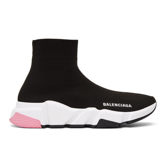 Balenciaga 黑色 and 粉色 Speed 高帮运动鞋