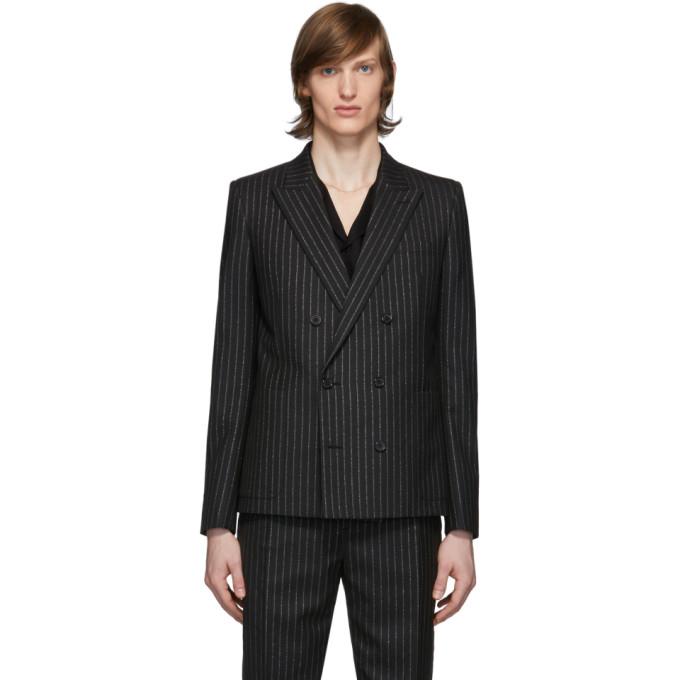 Saint Laurent 黑色 and 银色银丝条纹西装外套