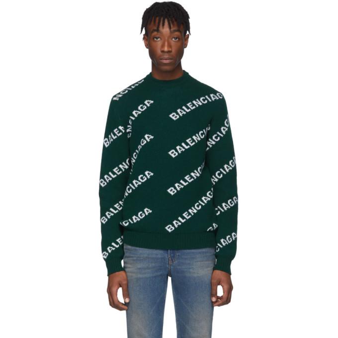 Balenciaga 绿色提花徽标羊毛圆领毛衣