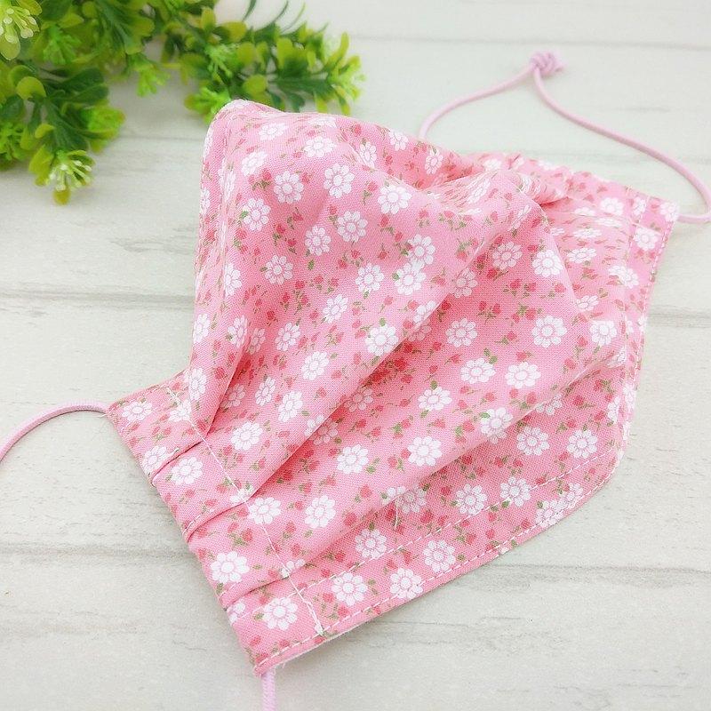 粉紅小花。有壓條有開口棉質布口罩 / 口罩掛繩 (可加40繡名字)