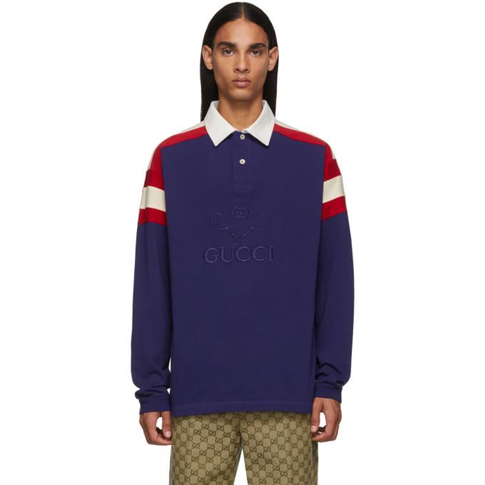 Gucci 蓝色 Tennis Club Polo 衫