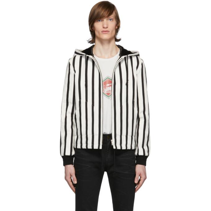Saint Laurent 黑色 and 白色 Baja 珠皮呢夹克