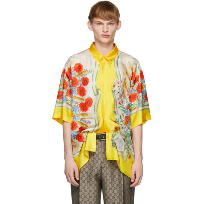 Gucci 黄色 and 白色丝绸花卉衬衫