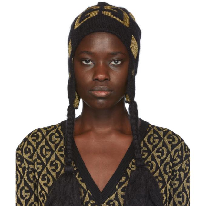 Gucci 黑色 and 金色 GG Pompom 针织毛线帽