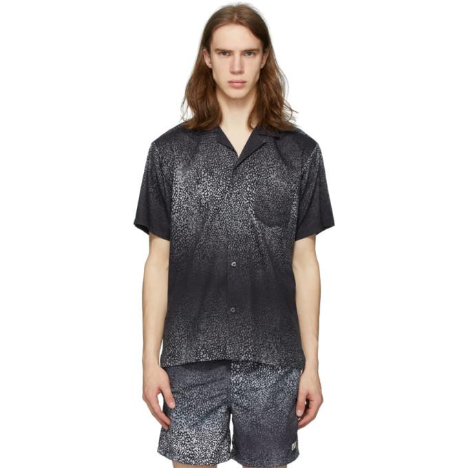 Bather 黑色 and 灰色 Camp 渐变豹纹短袖衬衫