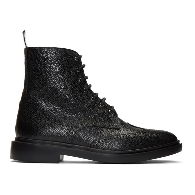 Thom Browne 黑色经典款全雕花踝靴