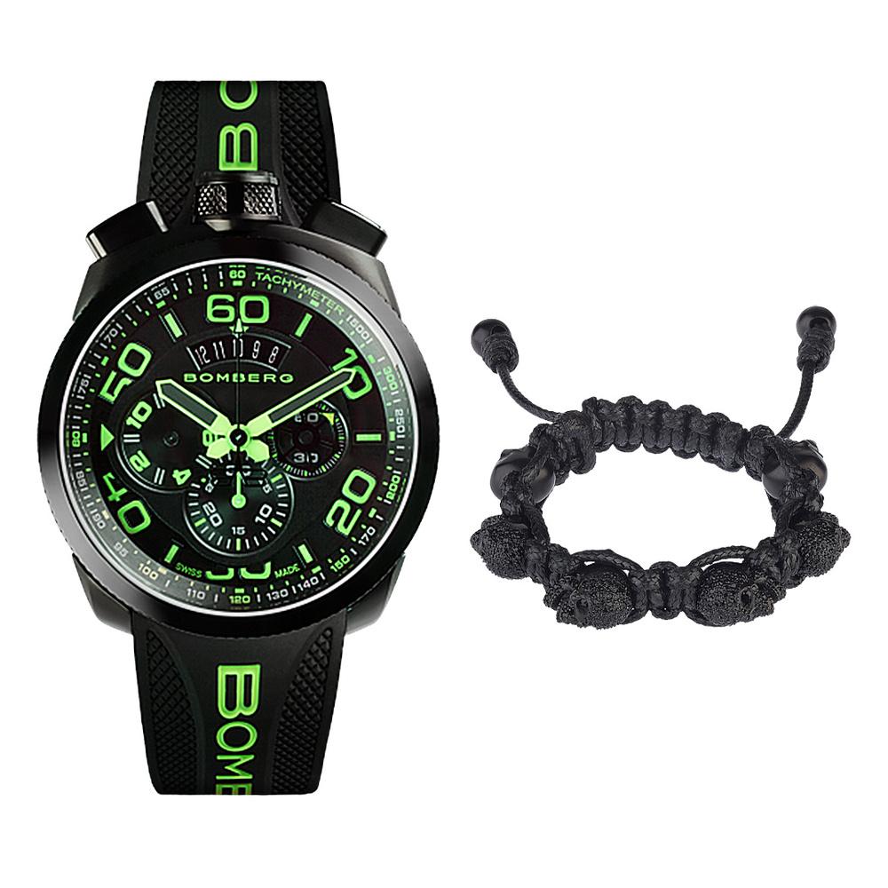 BOMBERG【炸彈錶】不敗搭配組合 綠色霓虹計時碼錶 + 黑水鑽黑骷髏黑色手環 | 錶徑45mm