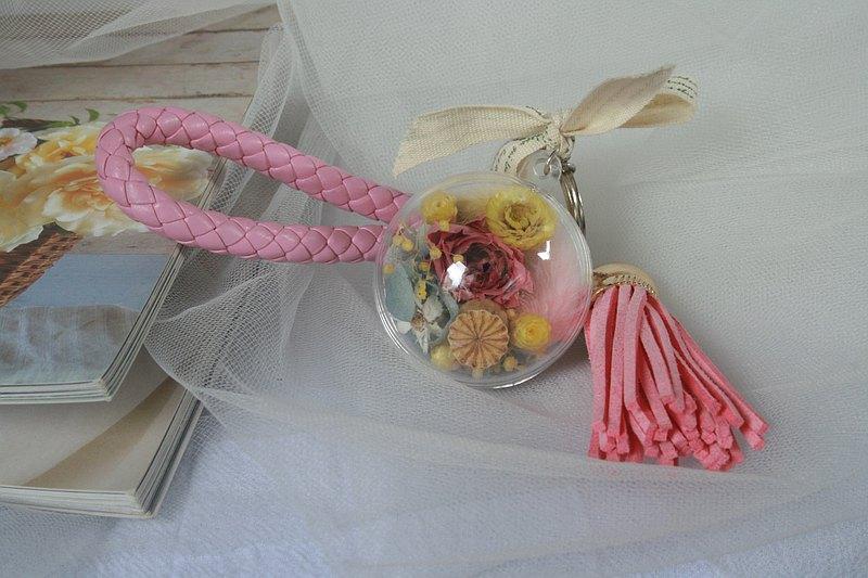 永生花皮繩鑰匙圈 吊飾 小花球 乾燥花 不凋花 婚禮小物 伴娘禮物
