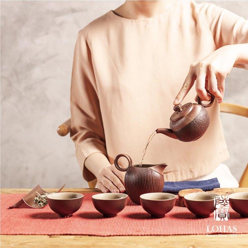 岩藏石蕈茶組  仿岩石釉面  24K手繪 泡出老茶的甘醇  典藏木盒