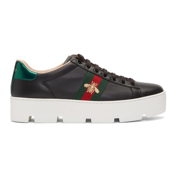 Gucci 黑色 Ace 防水台运动鞋