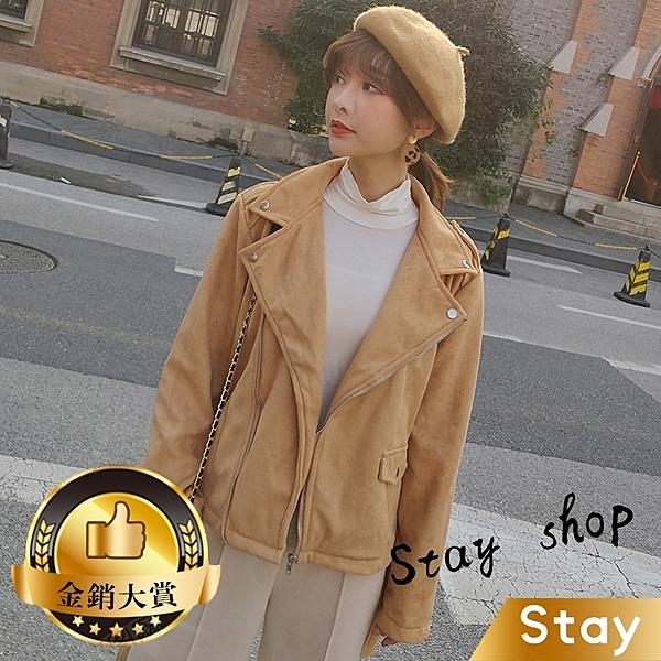 【Stay】冬季新款韓版翻領麂皮絨外套 百搭外套 長袖上衣 機車外套 飛機外套 大衣皮衣【J70】