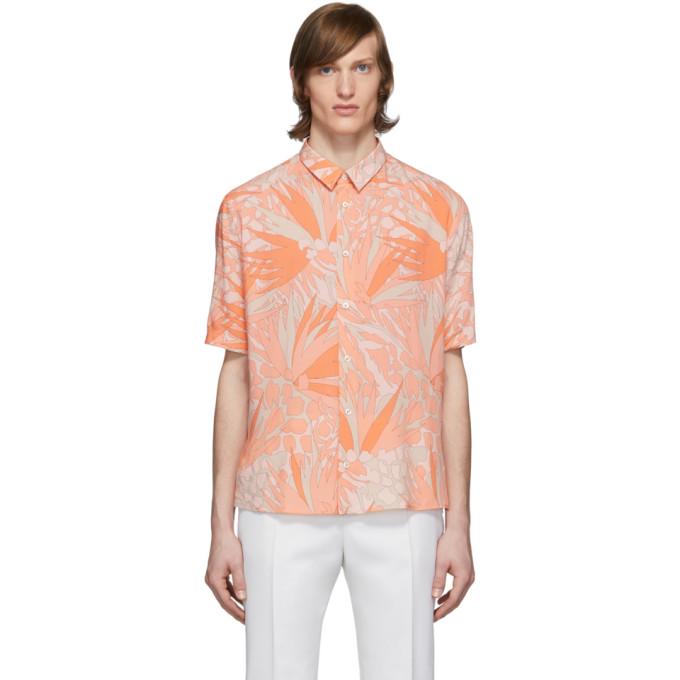 Saint Laurent 橙色 and 灰褐色 Jungle 短袖衬衫