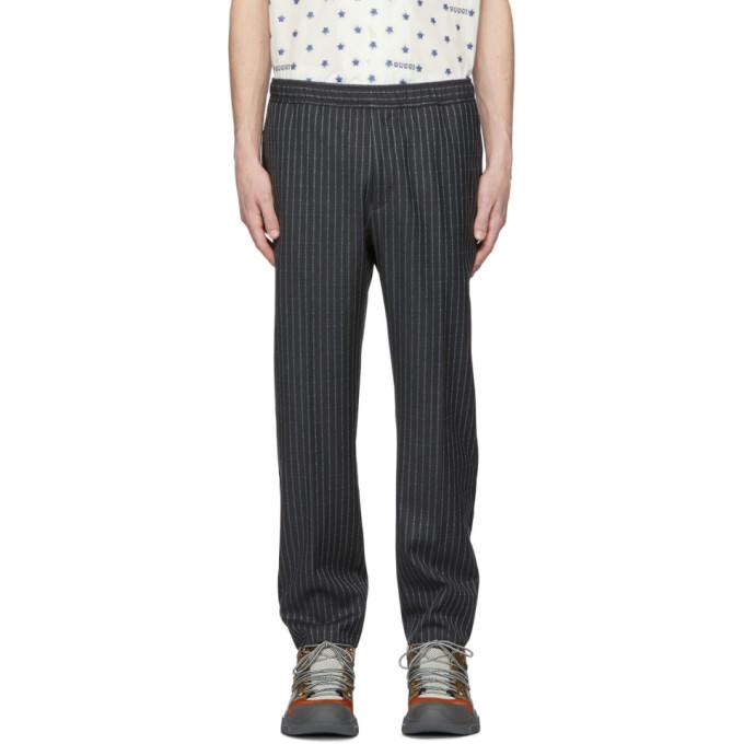 Gucci 灰色细条纹徽标长裤