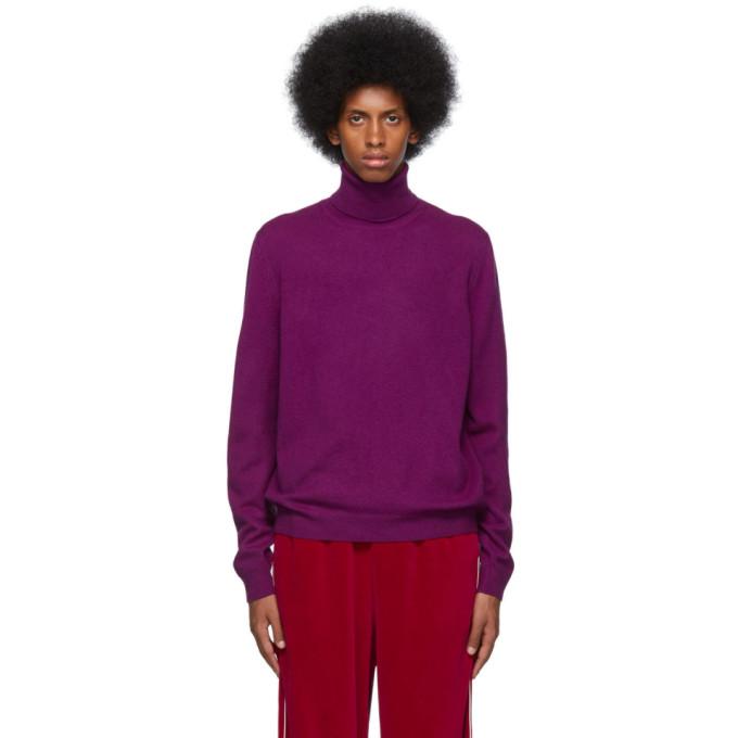 Gucci 紫色羊毛 and 羊绒高领衫