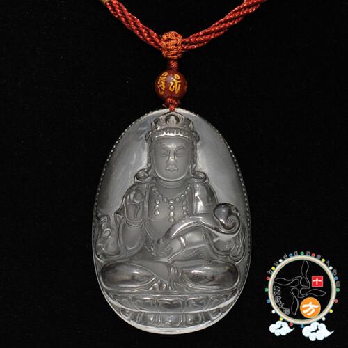 如意觀音{琉璃水晶}中國結項鍊十方佛教文物