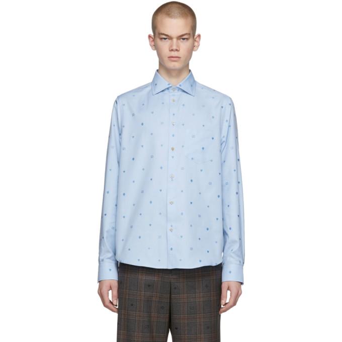 Gucci 蓝色符号图案切丝棉质衬衫