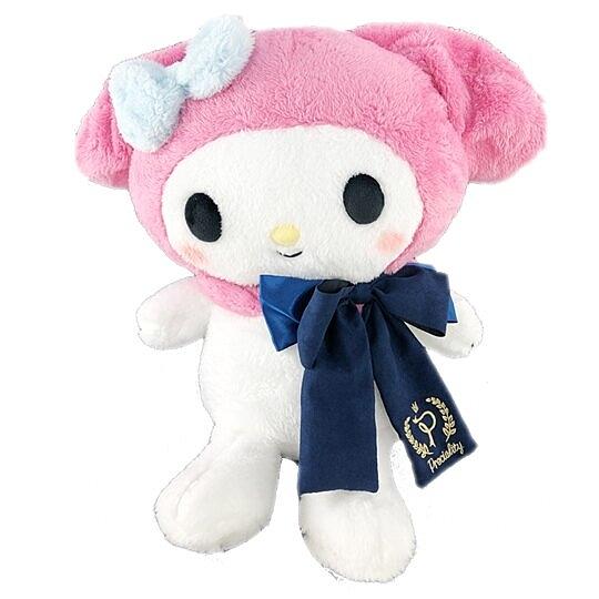 小禮堂 美樂蒂 絨毛 玩偶 娃娃 玩具 布偶 (L 粉 深藍領結) 4983164-37693