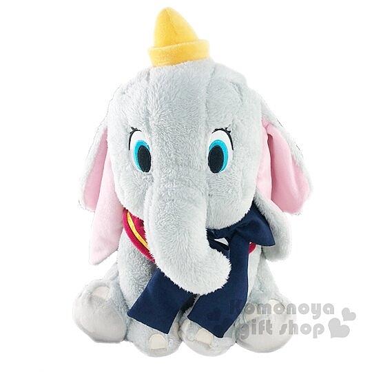 小禮堂 迪士尼 小飛象 DUMBO 絨毛 玩偶 娃娃 玩具 布偶 (L 灰 藍領結) 4983164-37703