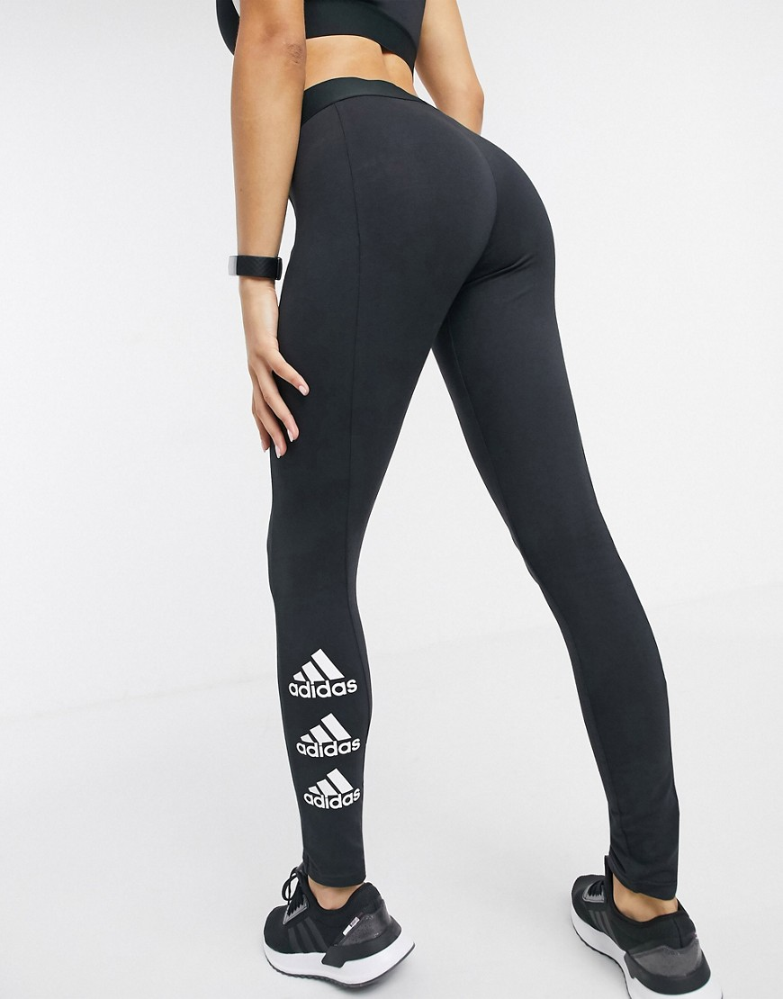 adidas Training leggings with side logo in black