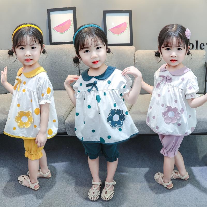 新款夏季女童短袖套裝 女寶寶可愛花朵圓點短袖T卹+短褲兩件套【IU貝嬰屋】