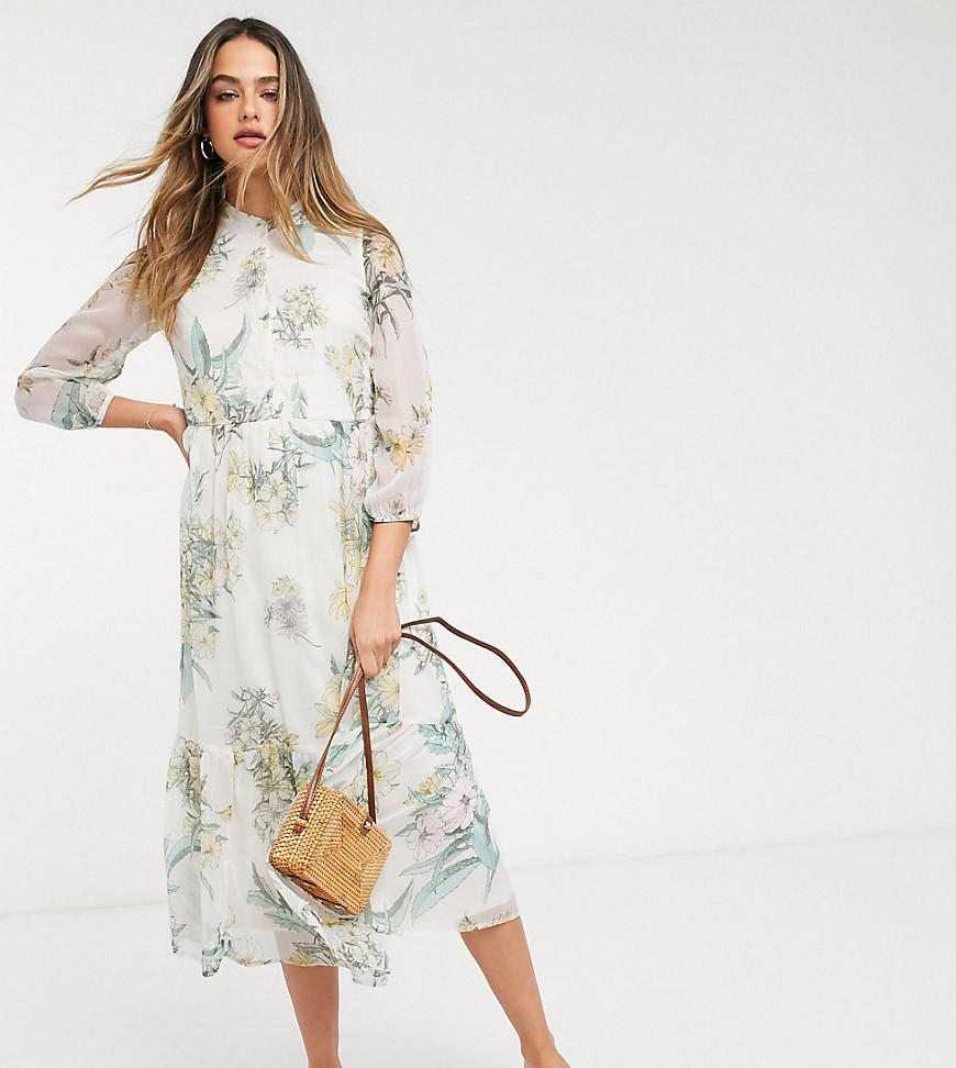 Vero Moda Tall chiffon midi dress in cream floral-Multi