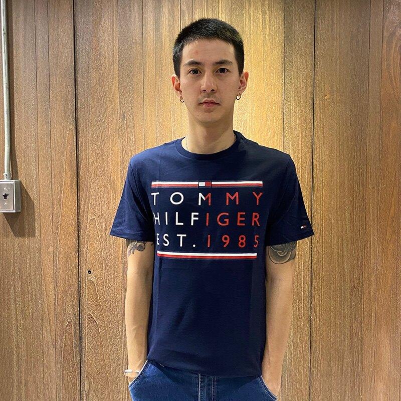 美國百分百【Tommy Hilfiger DENIM】T恤 TH T-shirt 短袖 短T 深藍色 S號 AW06