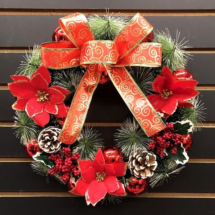 花環門掛花圈掛飾櫥窗布置用品酒店商場道具聖誕節裝飾品40CM牆飾 夏洛特居家名品
