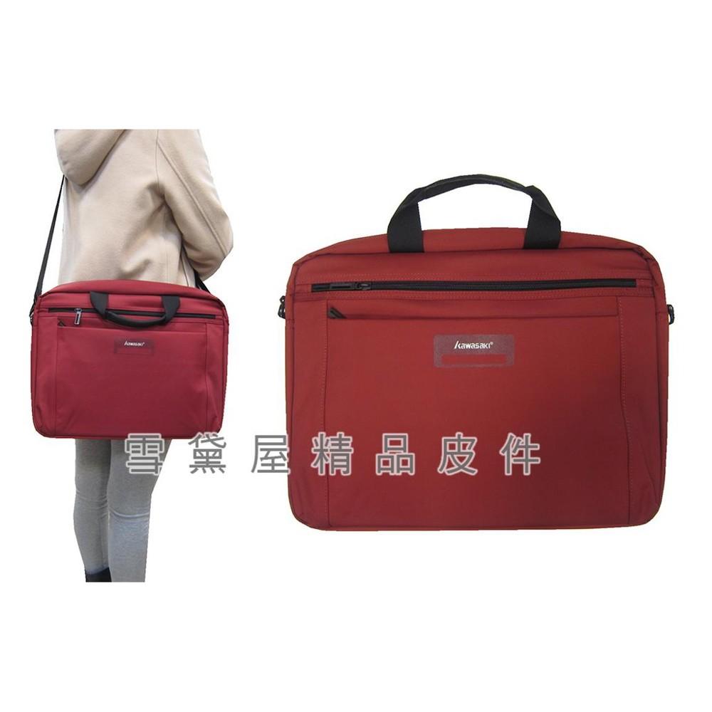 ~雪黛屋~kawasaki 文件包中容量主袋+外袋共四層防水尼龍布可放a4資料夾14吋電腦套手提肩背