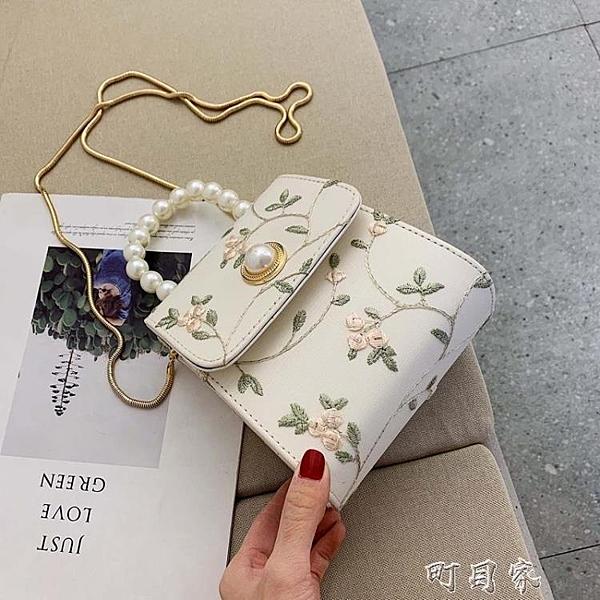 仙女小包包女夏天新款珍珠手提小方包蕾絲錬條斜背包古風漢服 【快速出貨】