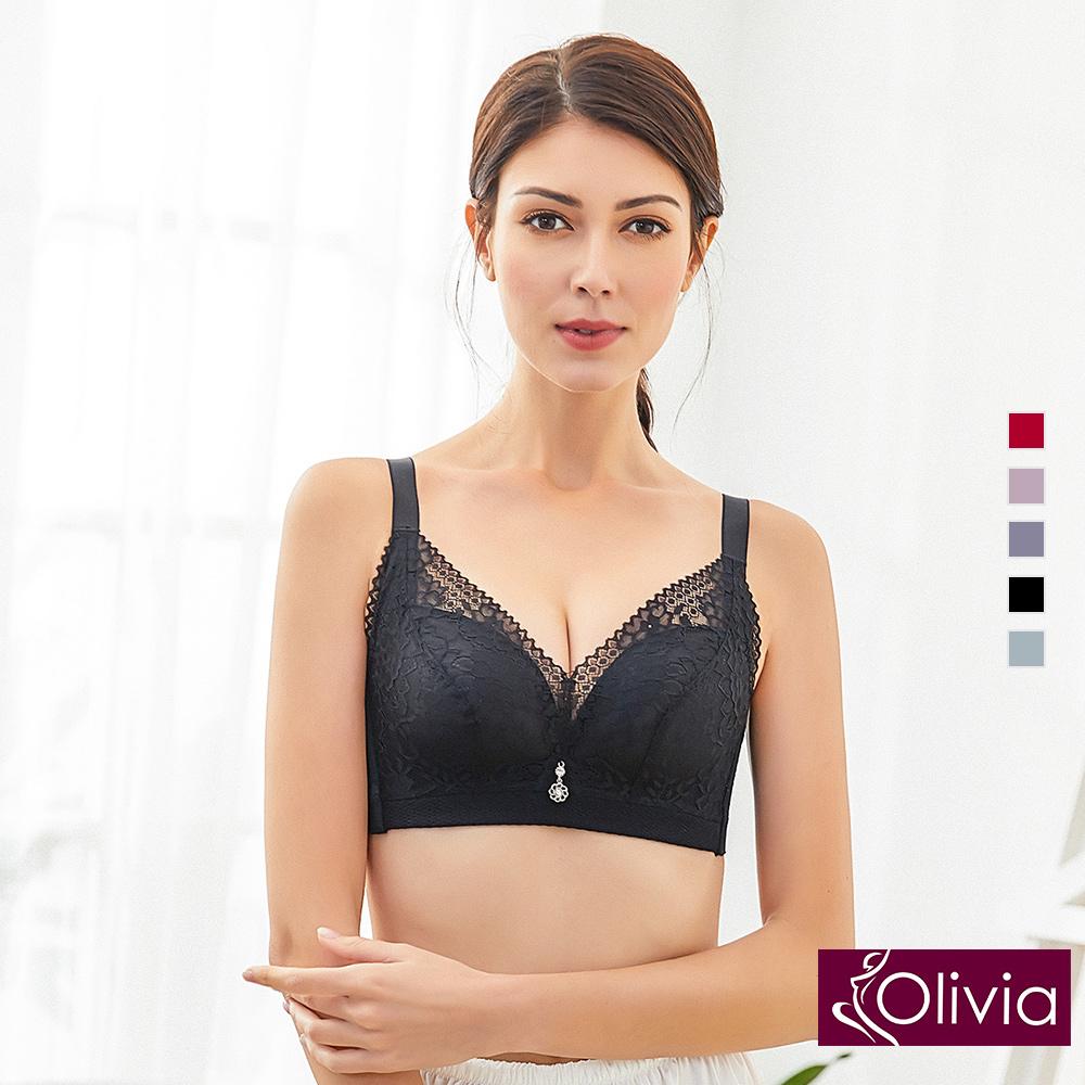 內衣 Olivia 無鋼圈3D立體唯美蕾絲無縫內衣-黑色
