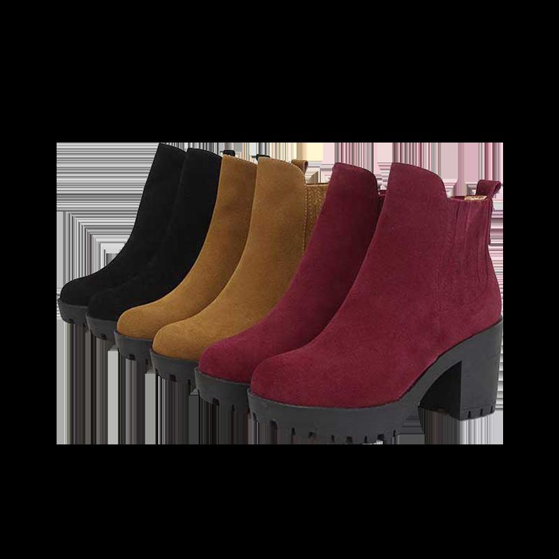 粗跟靴中跟靴圓頭短靴霧面磨砂鬆緊短靴女鞋素色款基本款-黑/紅/黃/綠34-40【AAA2855】