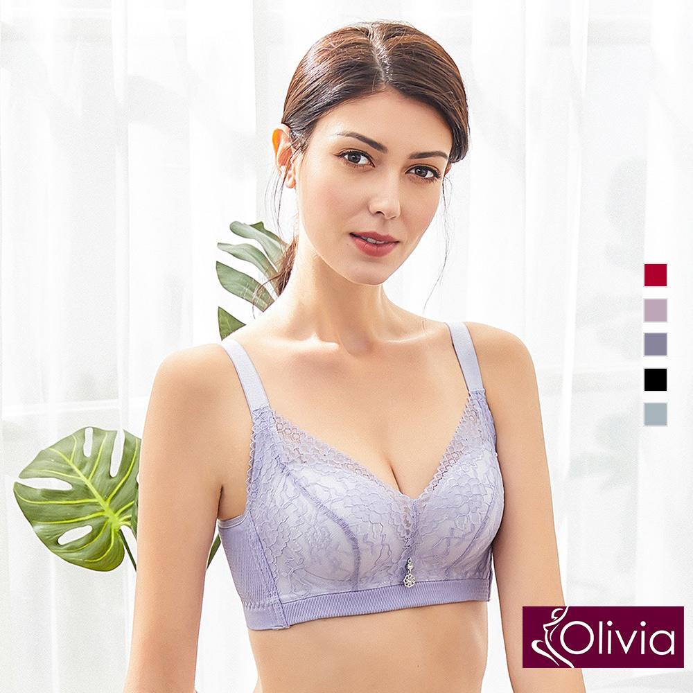 內衣 Olivia 無鋼圈3D立體唯美蕾絲無縫內衣-紫色