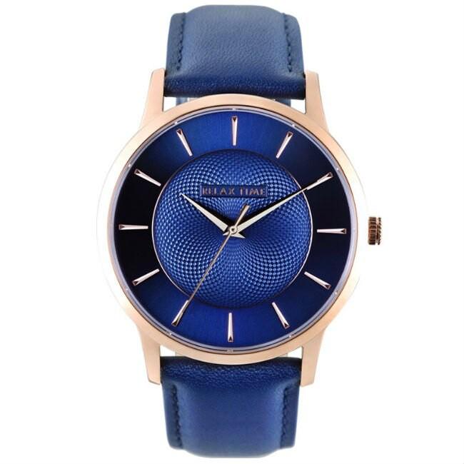 RELAX TIME Classic 經典系列立體波紋腕錶 (RT-88-3L) /藍面 36mm