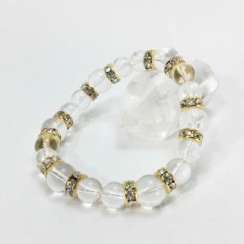 10mm水晶×8mm水晶 ブレスレット パワーストーン 天然石(ゴールド)レディース