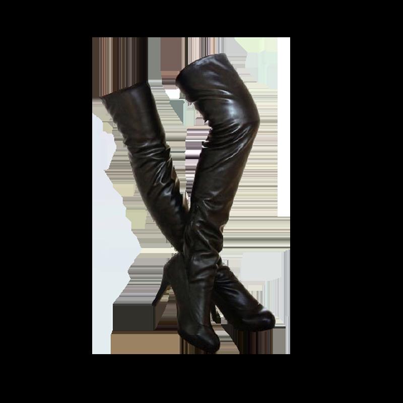 免運【完美修飾美腿】素面高跟過膝長靴 長筒靴 高筒靴 歐美極限修飾美腿 彈力PU尖頭-棕/黑(33-46)【yb--K6】